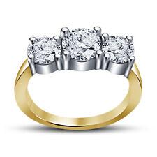 Round D/Vvs1 Diamond 3-Stone Engagement Ring Ladies 14K Yellow Gold Over 1.40 Ct