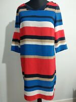 Tommy Hilfiger Dress Red Blue And White Colour Block Shift Size 10 Logo Buttons