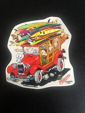 Vintage surf sticker, Jim Phillips artwork, surfboards, jalopy / New clear vinyl