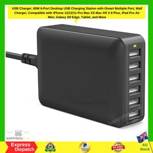 60W 12A 6-Port USB Charger Desktop Charging Station with iSmart (black) NEW AU