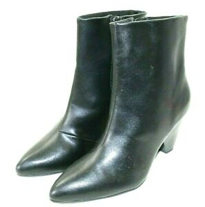 APT.9 womens ankle boots size 7 M black faux leather zipper side 3 in heel NEW