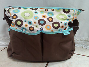 Diaper Bag Brown and Blue Dupont Circle by Baby Boom **used**