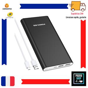 Batterie Externe 10000mAh avec 2 Port USB Charge Ultra Rapidement Samsung Huawei