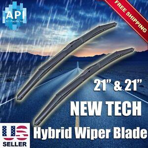 "Hybrid Windshield Wiper Blades Bracketless 21"" & 21"" J-HOOK OEM QUALITY"