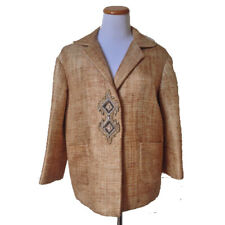 NWT SOCA ST. JOHN Natural Straw-Look Woven Blazer Jacket Beaded Accent M $695