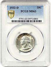 1932-D 25c PCGS MS63 - Popular Key Date - Washington Quarter - Popular Key Date