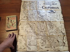 Vintage 1939 REG MANNING'S CARTOON MAP OF CALIFORNIA w/ Illustrated Guide Book