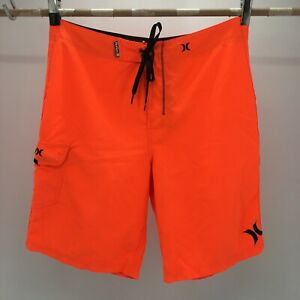 Hurley Drawstring Board Shorts Mens 34 Orange Flat Front Swimwear Side Pocket