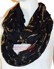 New Black Light Weight All Season Chain Gliding Crinkle Infinity Scarf Loop Cowl