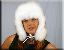 New White Trooper Hat White Fox Fur Trim - One Size Fits All - Efurs4less