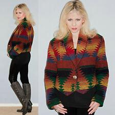 Vtg Indian Blanket Wool Southwestern Native Tribal Aztec Crop Coat Jacket Cape M