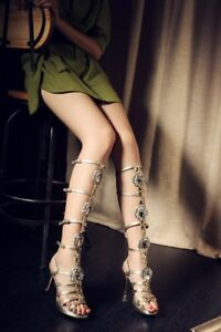 Womens Hollow Out Gladiator Knee High Heel Boots Gladiator Sandals Roma Shoes