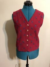 TALBOTS Red Button up Vest with Blue embroidered Flowers Sleeveless Size SP