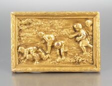 Antique French Gilded Metal Ornament, Child, Children Playing Leapfrog