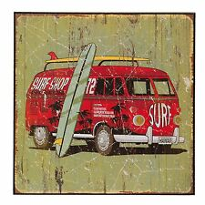 SURF BOARD SURFING VAN DISTRESSED WOODEN SIGN 25CM X 25CM X1CM