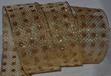 """Wired Ribbon~Sheer Gold~Glitz Sparkle Dot~Spot~2.5""""~Christ mas~Holiday~Wreath~Bow"""