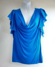 Whistles London - Teal Blue Handkerchief Sleeve Top - Size 1 UK8 - 100% Viscose