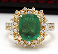 4.50 Carats Natural Emerald & Diamond 14K Solid Yellow Gold Ring