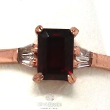 Genuine Red Garnet Ring Women Engagement Jewelry Gift 925 Sterling Silver