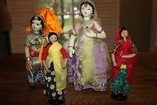 Lot of 4 Souvenir Handmade Clothes Folk Dolls Cloth Fabric made in India jewelry