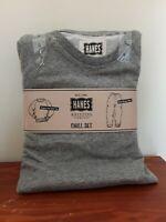 Mens pajamas 2 piece size small crewneck, drawstring brand Hanes NWT color gray