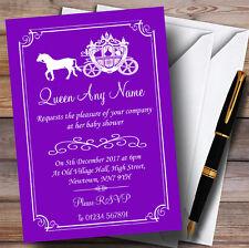 Purple Horse Carriage Princess Invitations Baby Shower Invitations
