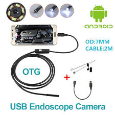 2M Android 6LED 7mm Lens Endoscope Waterproof Inspection Borescope Camera ForCar