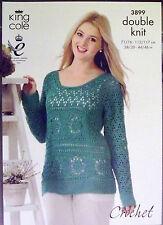 """King Cole DK Crochet Patrón señoras Sweater Jumper 28 """" - 46"""" 3899"""
