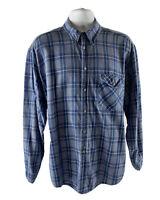 Men's Levi's Long Sleeve Large Plaid Thick Cotton Shirt Blue White Button Down