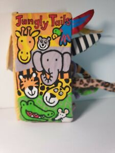 JELLYCAT JUNGLY TAILS SOFT FABRIC TOUCH AND FEEL SENSORY BABY BOOK - VGC