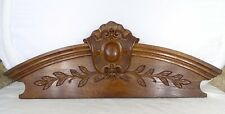 "23.6""  Antique French Hand Carved Wood Solid Oak Pediment -"