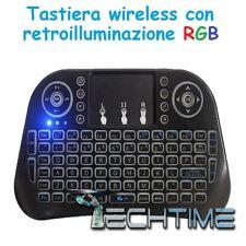 MINI TASTIERA WIRELESS 2.4G TOUCHPAD RETROILLUMINATA RGB BLUETOOTH PC CONSOLE TV