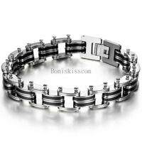 Punk Rock Black Silicone Rubber Stainless Steel Chain Bracelet Wristband for Men