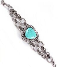 Antique Silver Tone Turquoise Stone Heart Adjustable Bracelet - B09M