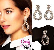 Stunning Gold Crystal Rhinestone Big Oval Diamante Statement Drop Earrings