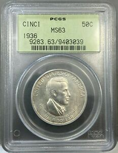 1936 50c Cincinnati Commemorative Half Dollar PCGS MS63 Old Green Holder (OGH)