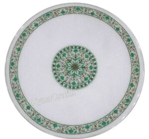 Green Stone Inlay Work Dining Table Top White Stone Patio Sofa Table 42 Inches