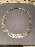 """16"""", Triple Tone Sterling Silver Necklace, Fine Italy 925 Silver Chain, Unique"""