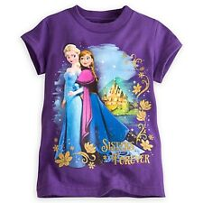 DISNEY FROZEN ANNA & ELSA SISTERS FOREVER TEE GIRLS SIZE 7/8 GLITTER ACCENTS NWT