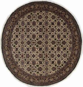 Allover Floral Design Handmade 7X7 Round Rug Oriental Wool Home Decor Carpet