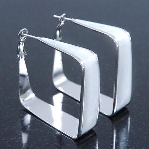 50mm Square White Enamel Hoop Earrings In Silver Tone