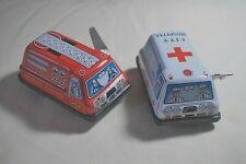"Vintage Tin Toy Sanko Wind Up Auto Turn 3"" Fire Engine & Ambulance Made in Japan"