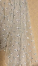 2-2/3 Yards Vintage White Chiffon Fabric Embroidered Light Blue Bows 44� W Usa