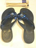 Tory Burch | Black Breely Patent Flower Flat Thong Sandals | Size US 8 with Box
