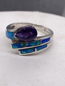 Amethyst & Australian Opal Inlay 925 Sterling Silver Ring Jewelry Sz 8