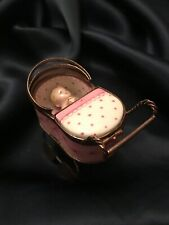 Fab! Rare! Vintage Limoges Peint Main Baby Carriage w Baby Trinket Box Signed Bc