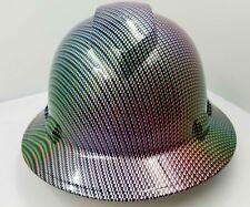 FULL BRIM Hard Hat custom hydro dipped , NEW NEO CHROME CARBON FIBER Extreme