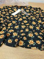 Nobody's Child Tie Neck Top. Black Floral. Ladies Size 12. New Ref B6