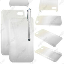 Housse Etui Coque Rigide Motif Gouttelettes Blanc Apple iPhone 4S 4 + Stylet