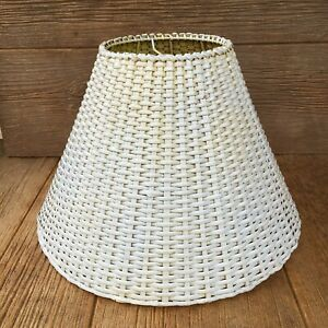 Vintage Large Woven Wicker Lamp Light Shade White Yellow For Hanging or Table